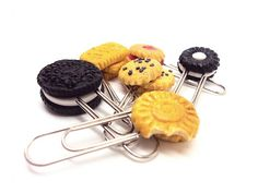 Polymer clay Miniature Cookie Paper Clips by SmallIdea on Etsy