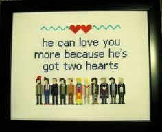 "Cross-Stitch Pattern: Doctor Who ""He can love you more because he's got two hearts"" (for Caetlyn)"