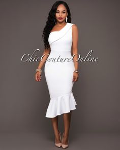 Chic Couture Online - Elisha Off-White Single Shoulder Dress, $45.00 (http://www.chiccoutureonline.com/elisha-off-white-single-shoulder-dress/)