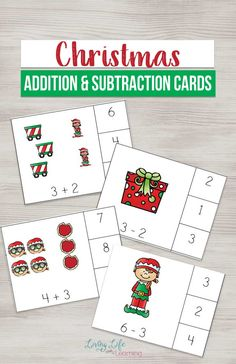 Make learning math fun with these cute Christmas addition and subtraction cards for easy math practice with tons of fun at the same time. #Christmas #math #preschool #homeschool