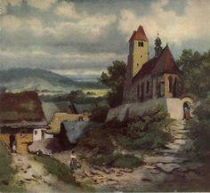 JOSEF MÁNES (1820-1871) Venkovský kostelík Manado, Czech Republic, Painters, Heaven, Garden, Art, Art Background, Sky, Garten