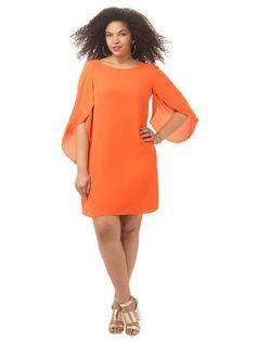 Plus Size LONDON TIMES Tulip Sleeve Shift Dress