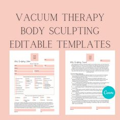 Editable Body Sculpting Intake & Consent Form Templates, Esthetician Business Forms and Med Spa Form Templates, DIY Editable, Aesthetic Form