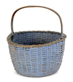 Realized Price: $ 1007  Split oak basket, 19th c., retaining an old blue surface
