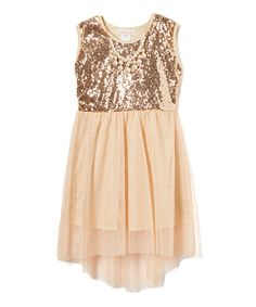 Look at this #zulilyfind! Maya Fashion Gold Sequin Tulle-Overlay A-Line Dress & Necklace - Toddler & Girls by Maya Fashion #zulilyfinds