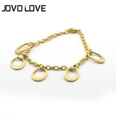 Five Hoop Shape Chain Stainless Steel Bracelet Fashion Gold Plated Casual Elegant Fine Jewelry Bracelet