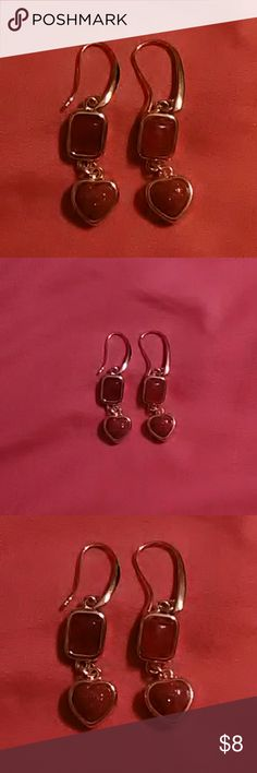 Pretty pierced earrings New, never worn.they are kind of Amber and brown with a druzy effect. Very pretty and would go with lots of things! Jewelry Earrings