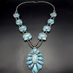 Spectacular Nvajo Sterling Silver & KINGMAN SPIDERWEB TURQUOISE Necklace 490g