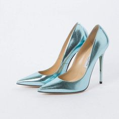 Pre-owned Jimmy Choo Leather Heels ($475) ❤ liked on Polyvore featuring shoes, pumps, stiletto pumps, jimmy choo shoes, jimmy choo pumps, high heel stilettos and blue pumps