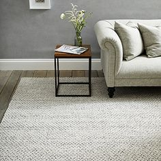 If you're looking for a rug that will give your room a smart update, this is the perfect choice. Made from a high-quality cotton-polyester blend, which feels lovely and soft underfoot, it has a striking monochrome-diamond pattern and neatly trimm Living Room Rugs Uk, The White Company, White Rug, Spring Home, Diamond Pattern, Colorful Rugs, Monochrome, Art Deco, Indoor