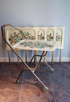 TV Tray Set Retro Mod Vintage With Rolling By FingerLakesFinds