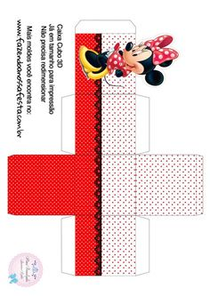 Caixa Cubo 3D Minnie Vermelha