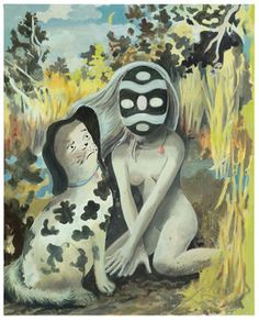 Available for sale from Galerie Kleindienst, Tilo Baumgärtel, untitled Oil on canvas, 100 × 80 × 4 cm Dog Mask, Lowbrow Art, Dream Art, Pop Surrealism, Big Eyes, Oil On Canvas, Contemporary Art, Artsy, Illustration