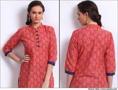 Shree-Women-Pink-Printed-Kurta-Churidar Neck Designs
