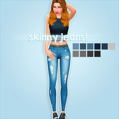"crazycupcakefr: ""Hello everyone! I am back with some skinny jeans :) • 10 colors! • FOUND UNDER THE ACCESSORIES CATEGORY (leggings) • Base game compatible • If you use, please tag me I want to see the result! :) • Let me know if there are issues ♥..."