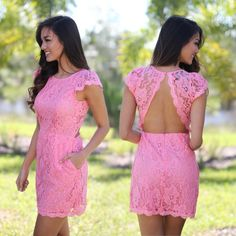 Pretty in PINK! Our new Pink Lace Dress with Pockets is simply adorable. We are loving the lace open back not to mention the cute pockets. Super feminine, girly and chic, this new lace dress is a must have! See other cute short dresses at our trendy online dress boutique!