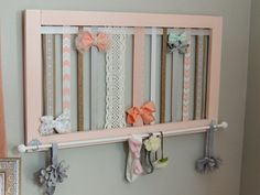Shabby Chic Hair Bow Frame, Custom Hair Bow Frame, Hair Bow Holder, Hair Bow Organizer boho girls nursery decor girls baby shower gift
