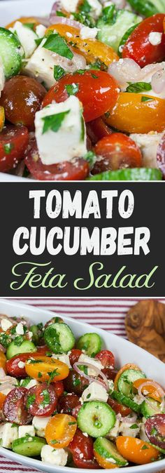 Tomato Cucumber Feta Salad - The best tomato cucumber feta salad ever! A quick, fresh, light, crunchy, flavorful and addictive salad!