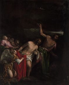 The Baptism of Christ / El Bautismo de Jesús // ca. 1590 // Jacopo Bassano (Jacopo da Ponte) // #Jesus #JohnTheBaptist