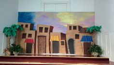 Nazareth VBS stage decoration, town buildings