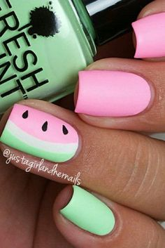 Here is Watermelon Nail Designs Pictures for you. Cute Summer Nail Designs, Cute Summer Nails, Cute Nails, Nail Summer, Summer Toenails, Watermelon Nail Designs, Watermelon Nail Art, Nail Designs Pictures, Diy Nail Designs