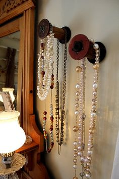 Jewelry Storage --  Really like this idea -- been looking for a good way to store my necklaces -- this just might fill the bill.