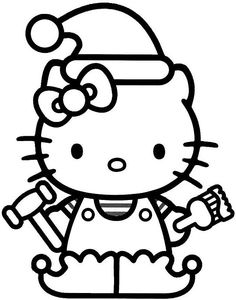 Hello Kitty Christmas Hat Coloring For Kids - Christmas Coloring Pages : KidsDrawing – Free Coloring Pages Online