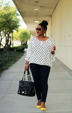 Polka dot shirt with black pants and yellow shoes