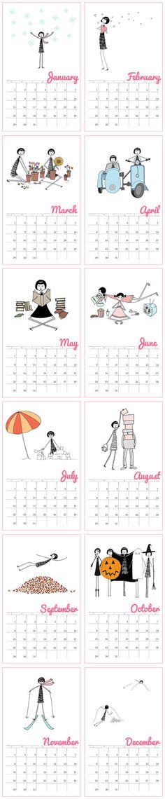 2013 Wall Calendar // 1920s flapper doodle colorful calendar. $35.00, via Etsy.