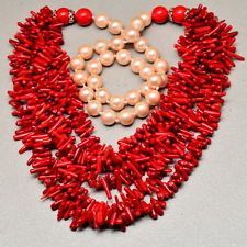 """FABULOUS! NATURAL AAA GRADE RED CORAL, TRIDACNA SHELL NECKLACE 16 7/8"""""""
