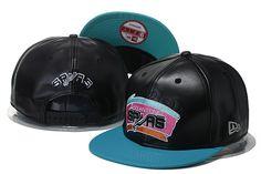 San Antonio Spurs Leather Stamp Snapback Hats Black