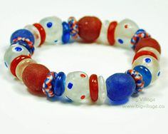 Red, White and Blue (USA) Bracelet featuring Recycled Glass, Fair Trade Beads.  4th of July Bracelet $16.00