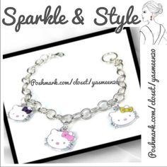 Hello Kitty Bracelet Silver tone, 3 charm Hello Kitty Bracelet. Adjustable length.NEWLast one Jewelry Bracelets