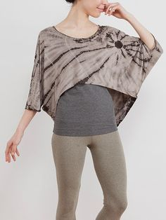 Tail Cut Top -- Materials used are carefully chosen to give the top an ultra soft and silky texture, which results in the lightweight and flowy effects of the top. Butterfly sleeves adds on to the contouring effects of the top, creating the visual effects of slimmer and longer arms. Rounded hem gives wearers the appearance of a smaller waist.  #yoga #wear #clothes #botanical #natural #dye #ecofriendly #organic #cotton #tiedye