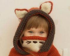 Sale! Hooded cowl Fox Rene - PDF knitting pattern - in baby, toddler, child and adult sizes