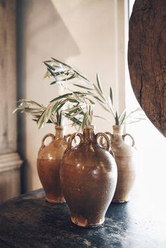 A trio of vintage French ceramics at Georgia Brown Home. http://www.bdantiques.com/