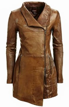 Leather...! Very stylish long brown leather jacket