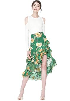 Shop the SASHA ASYMMETRICAL TIERED RUFFLE SKIRT from Alice + Olivia.
