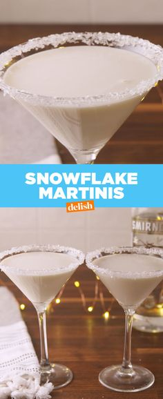 Snowflake Martinis are the best way to get lit during a blizzard. Get the recipe at Delish.com. #snowflake #martini #alcohol #cocktail #vanilla #whitechocolate #liquor #drinking #drink #recipe #easyrecipes