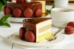Cake mousse tiramisu with a mirrored glaze