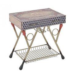 WOODEN_METAL TABLE 'MATCHBOX' 60Χ41Χ63