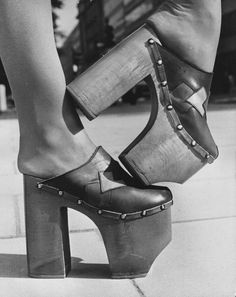 These shoes are from the They are clogs with very high platforms which were very popular during that time. Women's Shoes, 70s Shoes, Platform Shoes, Shoe Boots, Disco Shoes, Wedge Shoes, 70s Fashion, Fashion History, Fashion Shoes