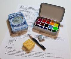 MINI WATERCOLOR PALETTE ~ collectible tin designs~artist-grade paints~full color spectrum~compact~portable~ travel sketch ~altoids-style tin