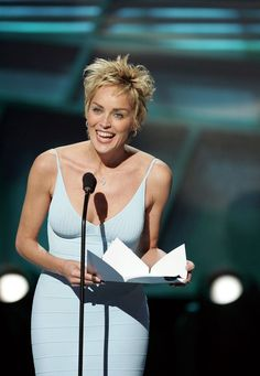 More Pics of Sharon Stone Diamond Hoops (1 of 12) - Sharon Stone Lookbook - StyleBistro Sharon Stone Short Hair, Sharon Stone Hairstyles, Short Textured Haircuts, Sharon Stone Photos, Pinup Photoshoot, Halle Berry, Tight Dresses, Pixie, Pin Up