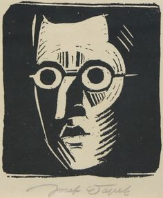 (1887-1945), ca. 1920, Self-portrait, Josef Čapek, Linocut on paper.