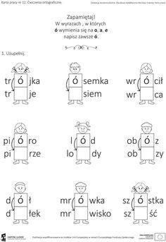 Znalezione obrazy dla zapytania wyrazy z ó wymiennym kolorowanki Learn Polish, Polish Language, Dot Day, Early Education, Motto, Homeschool, Classroom, Math Equations, Activities
