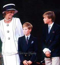 August 19, 1995: Diana, Princess of Wales with Prince Harry and Prince William at the commemoration of VJ Day in London.