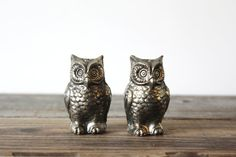 Vintage Silver Owl Salt and Pepper Shakers by vntagequeen on Etsy, $24.00