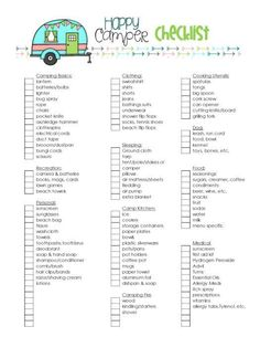 Second Chance to Dream: Happy Camper camping checklist- Get organized with this cute camping checklist.