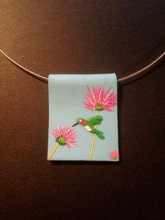 Polymer Clay Embroidery Hummingbird Pendant